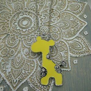Yellow Enamel Rhinestone Giraffe Pendant Necklace